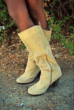Practically perfect perforated suede boots. Style your spring looks at MADE by DWC Resale Boutique. 325 South Los Angeles St. Los Angeles, CA 90013