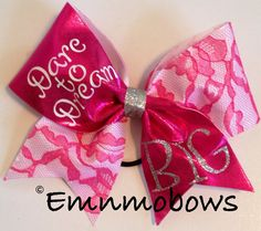 Dare+to+Dream+Big+Lace+Tick+Tock+Cheer+Bow+by+emNmoBows+on+Etsy,+$13.00