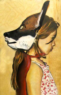 Fox girl woodcut portrait by Lucky Jackson.