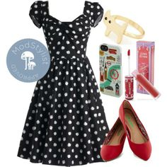 Black and white color palettes are a must for spring! Ballet flats (Reel Simple Flat in Red) with a POP of color and popsicle tinted lips make this a fun, flirty daytime look. #modcloth #ad *love