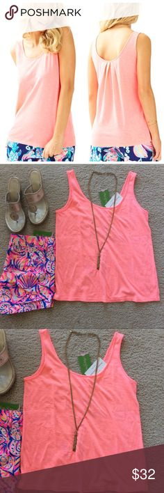 """Lilly Pulitzer Kinsey Tank Lilly Pulitzer Kinsey Tank in Guava Melon. Fabulous summer staple💕 Very versatile! Scoopneck in front and back, with pleating in back. Embroidered logo at the bottom corner. Laying flat approx 24"""" shoulder to hem, approx 17.5"""" pit to pit. 60 cotton 40 polyester. Size S. NWT. #1140 Lilly Pulitzer Tops Tank Tops"""