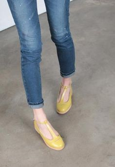 YELLOW T STRAP SHOES