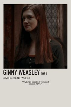 minimalist character polaroid ginny weasley poster (2009) - ginny weasley, bonnie wright, gina weasley, gryffindor, 1981 Harry Potter Movie Posters, Harry Potter Cards, Harry Potter Girl, Harry Potter Tumblr, Harry Potter Characters, Ginny Weasley, Imprimibles Harry Potter, Harry Potter Jk Rowling, Bonnie Wright