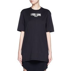 Givenchy 'I Feel Love' slogan T-shirt ($615) ❤ liked on Polyvore featuring tops, t-shirts, black, givenchy tee, cotton jersey, slogan t shirts, givenchy t shirt e slogan tees