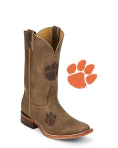 Men's Clemson Brown Cowhide Branded Boot: http://www.countryoutfitter.com/products/27462-mens-clemson-brown-cowhide-branded-boot