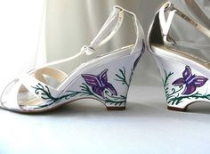 Wedding Shoes White Wedges painted butterflies and by norakaren, $235.00