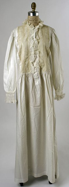 Nightgown Date: 1880s Culture: American (probably) Medium: cotton Accession Number: C.I.X.62.5.5 Metropolitan Museum of Art