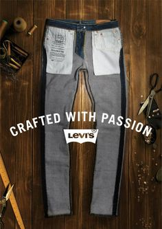 """CRAFTED WITH PASSION"" by LEVI'S, inside-out, pinned by Ton van der Veer"