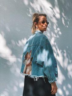 Jaqueta Jeans Angel 1 - SHOP | REUSE Jean Shirts, Reuse, Shop Now, Denim Shorts, Angel, T Shirt, Photography, Jackets, Outfits