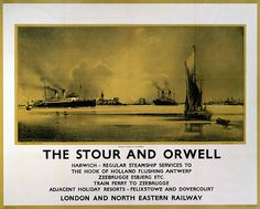 Poster produced by London North Eastern Railway to promote .steamer and train ferry services from Harwich to The Hook of Holland Flushing Antwerp...17