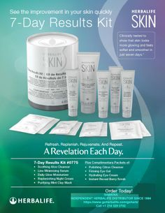 BEAUTY TIPS: The Herbalife SKIN 7-Day Results Kit is Here! INTERESTED IN WELLNESS, FITNESS, HEALTH, BEAUTY and Living a SUCCESSFUL LIFE?  Just finished the 7 day program and major difference!