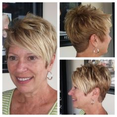 Diana came in and took one look at Molly before saying she wanted the same thing! Well, there you go, Diana! You ROCK! Pixie Haircuts, Short Hairstyles, Brown Hair With Blonde Highlights, Short Cuts, Pixies, Bobs, Diana, Hair Cuts, Hair Beauty