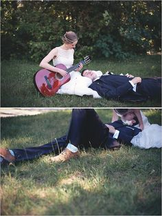 bride playing guitar -- engagement photo idea.