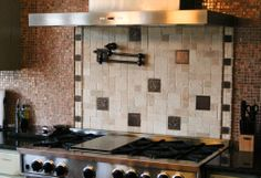 absolutely love the vintage/rustic meets modern ideal with stainless on this tile job. My Design, Kitchen Appliances, Design Inspiration, Rustic, Modern, Cabinets, Tile, House, Stainless Steel