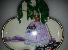Small Art Deco Woman Girl Hand Painted Japan Noritake Clover Dish | eBay