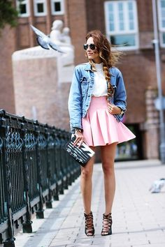 Virgit Canaz - Ray Ban Sunglasses, Chic Wish Blouse, Levi's® Vintage Jacket, Zara Pink Skirt - Lights cameras and action