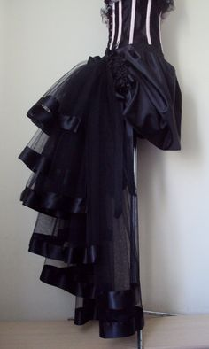 Black Burlesque Skirt Solid black front with Ribbon Trimmed tulle bustle at the back size XS S M L XL  PLEASE NOTE ,CORSET IS FOR DISPLAY ONLY .