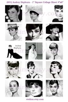 Audrey Hepburn 001 1 inch square digital images collage by evelinn, $1.50