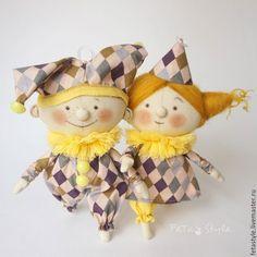 Купить Арлекин и Коломбина Желтый Куклы-подвески текстильные Игрушки на Елку - кукла подвеска