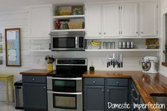 Liking the cabinets for our kitchen. Grey on bottom, white on top with a shelf underneath