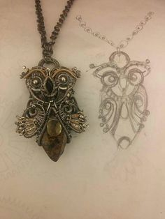 Owl.  Oxidised silver goldfield bronzite and lemon quartz.  Made by order