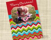 Bright Color Chevron Custom Christmas Photo Card