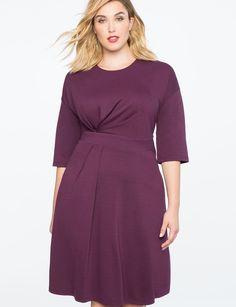 f707a47ba0559 Asymmetrical Pleated Dress POTENT PURPLE Plus Size Work Dresses