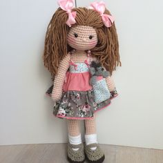 "24"" amigurumi doll and her teddy"