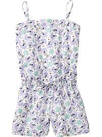 Girls Printed Pleat-Front Rompers