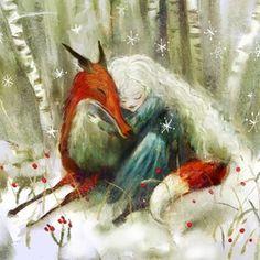 Fox Illustration, Spirited Art, Fairytale Art, Fox Art, Watercolor Animals, Watercolour, Whimsical Art, Print Poster, Fantasy Art