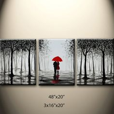 large original abstract painting walking in rain black by maggyart, $210.00