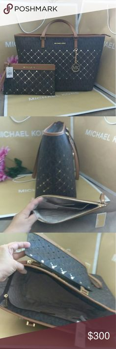 NWT Michael kors purse tote bag w/ wristlet wallet NWT Michael kors  Handbag shoulder bag tote purse  This can carry all your belongings  VERY RARE design  COLOR: Brown w/ gold etching and gold hardware Size : 16 x 12.5 x 6  📣📣 Pls note the hanging tag on the tote is not included that will be additional. $25..📣📣  W/ matching NWT wristlet / wallet / clutch With credit card slots . Even iPhone 7 plus will fit or biggest cellphone  Color : BROWN w/ gold etching .gold hardware…