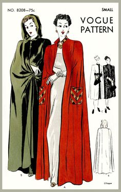 1940s 40s vintage women's sewing pattern cape day or evening length size SMALL Bust 32 - 34 repro reproduction