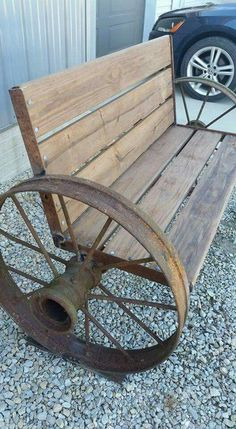 Custom Rustic Antique Steel Wagon Wheel Bench Country