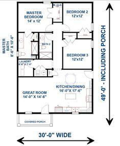 A Frame House Plans, House Plans 3 Bedroom, Pole Barn House Plans, Small House Floor Plans, House Layout Plans, Pole Barn Homes, Cottage House Plans, New House Plans, House Layouts