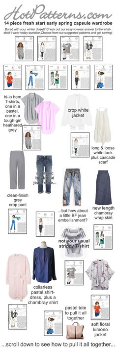 ..here's our suggestions...grab the patterns, get yourself some fabrics (you *know* you have some goodies in your stash, yes?) and get sewing!  http://www.hotpatterns.com/early-spring-2015-capsule-wardrobe/