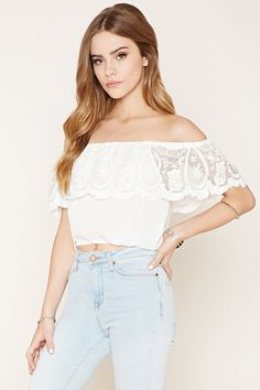 Off-The-Shoulder Lace Top | Forever 21 - 2000222417
