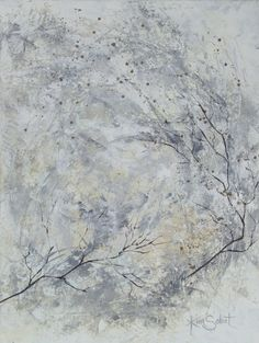 """""""The Whiteness of Night"""" - oil/cold wax abstract painting by Kim Sobat."""