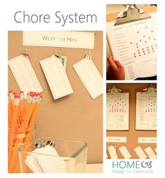 Home Made by Carmona: Chore System for the Kids with customizable printables.