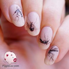 These are NOT real mosquitoes that I glued to my nails, haha! I know I've done some weird things in the past but that's a bridge too far, even for me. They're freehand with acrylic paint, don't worry :) There's also a tutorial!