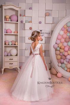 Elfenbein Spitze Blumenmädchen Kleid Hochzeits Geburtstag