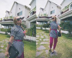Get this look: http://lb.nu/look/8769901 More looks by Olga Choi: http://lb.nu/choiolga #elegant #romantic #street #gingham #nylonbelt #summer2017 #pinkyarrow #styledmoscow #kittenheel