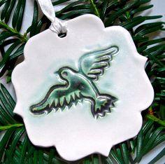 Dove Ornament Christmas Ornament bird ornament aqua by Clayshapes