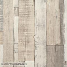 Papel pintado imitaci n pared de piedra gris claro for Papel pintado imitacion madera blanca