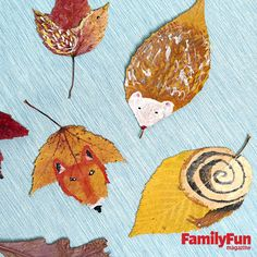 Leaf Creatures: Leaves gathered on an autumn walk make perfect tiny canvases for painting forest friends.