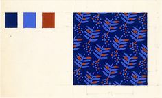 Fabric Design, leaf and dot motif  Stuart Davis 1934.