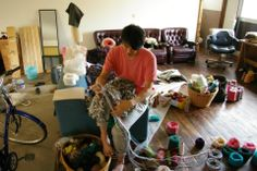 Knitting big one.In my atelier.Arm knitting.