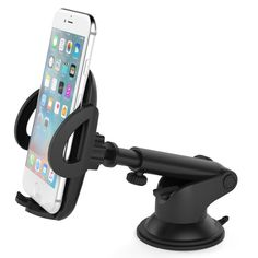 Cell-Stuff Black 2-Prong Dashboard//Windshield Auto Car Mount Holder w//Sticky Pad Compatible w//LG Stylo 4 Plus and Similar Size Phones
