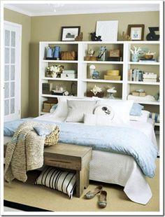 Cute diy bedroom storage design ideas for small spaces 39 Bookshelf Headboard, Ikea Bookcase, Storage Headboard, Bookcases, Bedroom Bookcase, Headboard Ideas, Diy Headboards, Modern Headboard, Blue Bookshelves