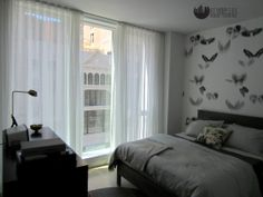 Sheer Ripplefold style curtains in a modern NYC apartment. Interior Windows, Custom Window Treatments, Shades Blinds, Custom Windows, Floor To Ceiling Windows, Sheer Curtains, Nyc, Flooring, Modern